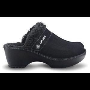 Crocs Suede Faux Fur Lined Clogs